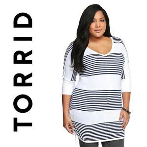 Torrid Stripe Sheath Ruched Knit Tunic Top